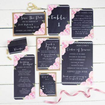 Hochzeitspapeterie pink und schwarz mit Blumen und Borde