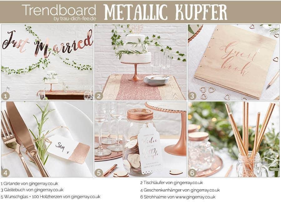 Trendboard Hochzeit Accessoires Metallic Kupfer
