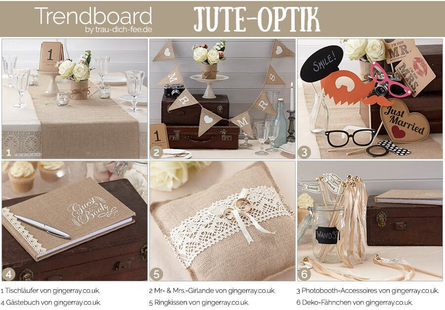 trendboard hochzeit jute-optik trau-dich-fee