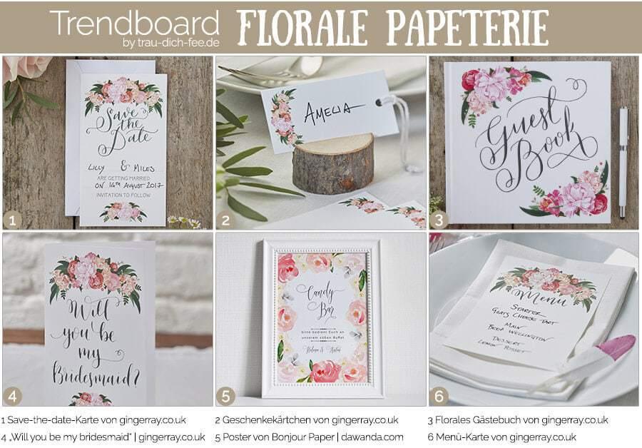 Florale Hochzeitspapeterie